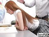 Redhead schoolgirl gets fucked by her teacher