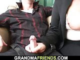 Blonde old grandma double fucked on the table
