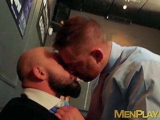Classy men have some perverted fun outside of their office