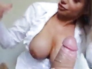 Blond with big tits works cock...