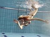 Nastya hot blonde naked in the pool