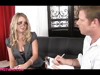 Blond office girl comes in and gets fucked...