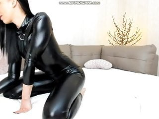 Webcam Girl In Leather Catsuit