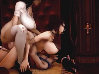 Threesome animated futanari dp two shemales one girl...