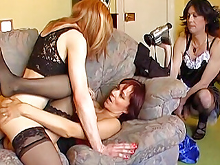 Two redhead hot photoshoot with  a crossdresses a do amateur