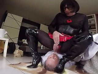 I piss in my sub mouth on sealed tight boots