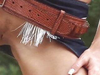 g LOVE - oiled big tits cowgirl striptease western