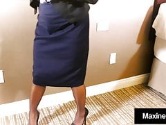 Maxine X Impales Huge Dildo, Squirts In Hose & Gives Blowjob
