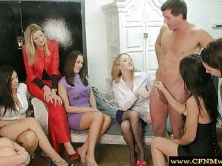 Femdoms humiliating their sub in hot high def...
