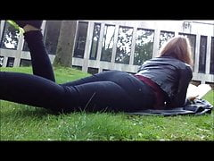 Jeans, thong and bare arse farts in the public park