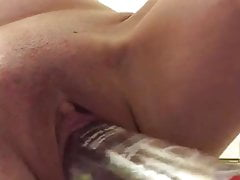 Fucking a bottle and squirting