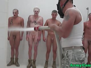 Ginger army hunk tops black ass shower...