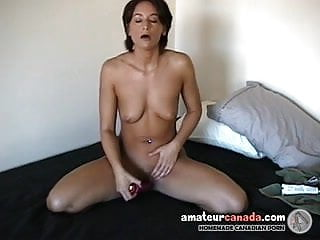 Tanned wet pussy wife uses sex toys for hubby