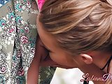 Sensual babes Alison Rey and Scarlett Sage licking outdoors