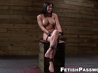 Bound Asian babe Mia Li throated before spreading legs