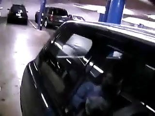 Oral blowjob in public garage
