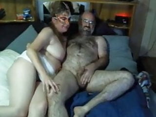Sexy hairy daddy and wife play on cam...