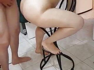 I fuck my neighbor slut wife on bar chair