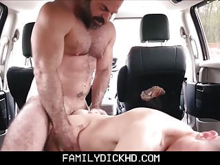 Hot bear stepdad in his car...