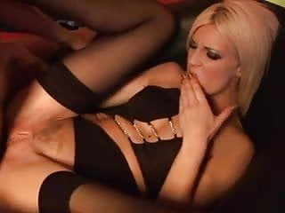 British sluts in a FFFMM fivesome in stockings
