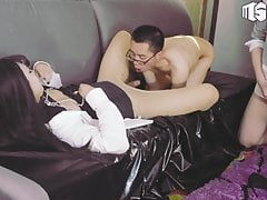 Chastity cage on her penis,Asian Ladyboy threesome fucked