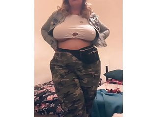 Busty curvy girl showing off...
