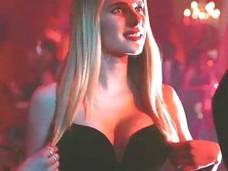 Big cleavage in sexy black dress...