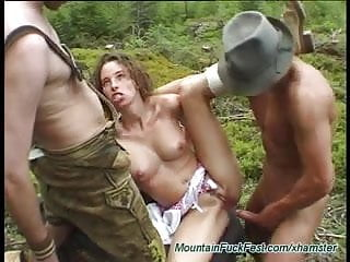 extreme threesome fuck in the mountain