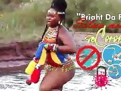 Topless South African girl with huge ass yelling by river
