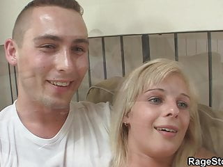 Angry dude forces blonde wife rides his cock...