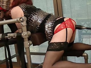 Sissy Lucy in Chastity gets pounded by fucking machine