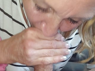 Gifted Granny sucking cock