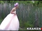 Public BDSM scene with a hard bride