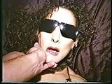 Kinky flatchested brunette in sunglasses lies back so dude can fuck her mouth