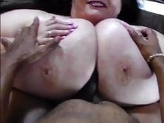 Old Huge tits tittyfucked by black cock