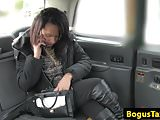 Black taxi babe fucked by cabbie after rimjob