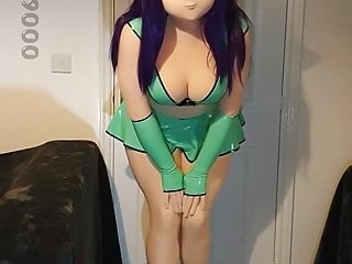 Xelphie in Green Latex Miniskirt and Top