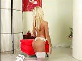 Beautiful Blonde Jana Cova Teases in Her White Lingerie