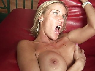 Busty blonde gives her man a before he...