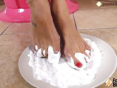 Sweet cream on her feet, and she loves her messy feet!