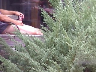 Caught neighbor jerking his dick  on his deck