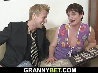 Old grandma loves sucking and riding his big cock