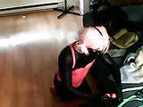 Sissys self bondage arm binder hogtie