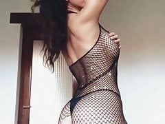 Hot Filipina Girl with Fishnet Nylon with Big Boobs