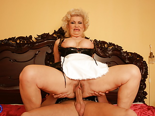 Busty grandma gets load in pussy from boy