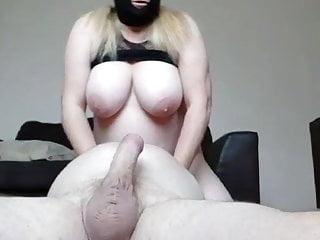 Masked British BBW plays with her mans cock