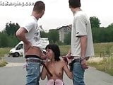 EXTREME PUBLIC threesome with YOUNG TEEN girl Part 1
