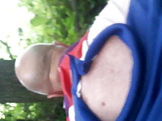 Pumping Grandads ass in Woods