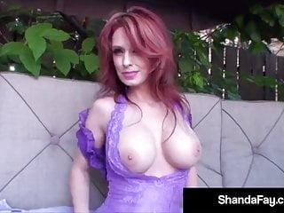 Boobed shanda fay does some hot backyard fucking...
