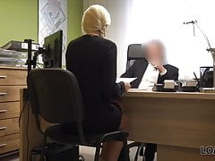 Sex-hungry agent is ready to help miss if she satisfies him